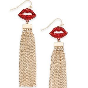 Thalia Sodi Gold-tone Red crystal lips Earrings